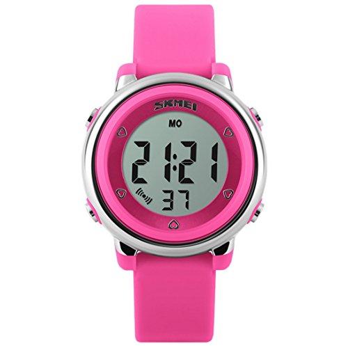 Panegy - Reloj Digital con LED de Colorido para Niños y Estudiantes-Color Rosado