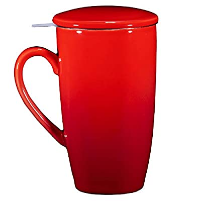 Bruntmor Ceramic Tea Infuser Mug With Stainless Steel Infuser And Removable Lid, Microwave Oven And Dishwasher Safe, Great For Use With Loose Tea Leaves And Sachets (16 oz, Gradient Red)