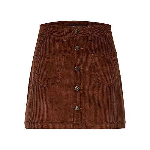ONLY Damen Onlamazing Hw Corduroy Skirt PNT Noos Rock, Braun (Coffee Bean Coffee Bean), 42 (Herstellergröße: XL)