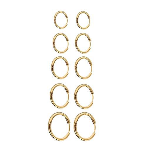 Berrywho Pendientes del aro Pendientes Redondos del círculo de Acero Inoxidable Grueso aro de Juego de Joyas para la Mujer de la Muchacha de los Hombres de Oro 10PCS
