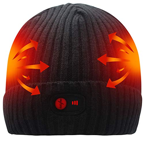 SVPRO Rechargeable Battery Heated Beanie Hat,7.4V Li-ion Battery Warm Winter Heated Cap,Winter Outdoor Activities Works up to 2.5-6H for Men & Women(Black-K)