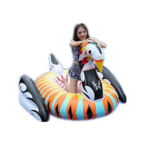 ZBNMGHFT Inflatable Colorful Swan Floating Row Adult Mount Surfing Yellow Duck Inflatable Bed Children Playing In Water Toys Thick PVC Material 190×180×130cm