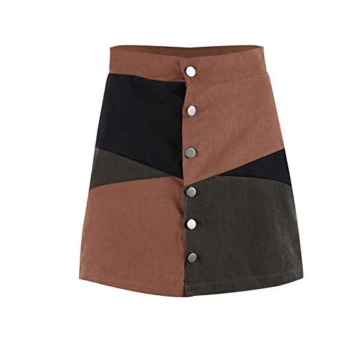 QBXDQ Falda Corta Mujeres Otoño Bloque De Botones De Gamuza De Cintura Alta Elegante Falda Corta Damas Casual A-Line Mini Faldas Mujer Patchwork Faldas Ropa