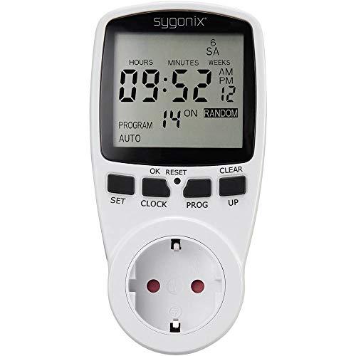 Sygonix 1625525 Steckdosen-Zeitschaltuhr digital Wochenprogramm 3680 W Timer-Funktion, Start/STOPP-Funktion, Zufallsfun
