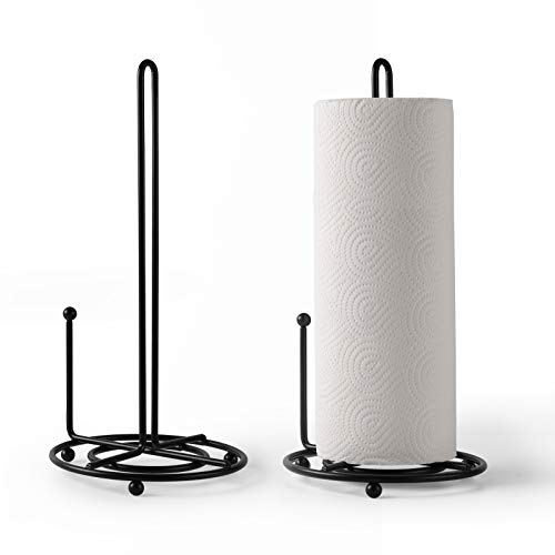 13 Inch Paper Towel Holder 2 Pack,Iron Paper Towel Stand Organizer Roll Dispenser with Stable Base for Kitchen,Countertop,Table&Dining