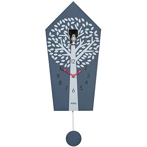 M & A Wandklok kwartsklok koekklok kwarts met slinger antraciet gelakte houten behuizing