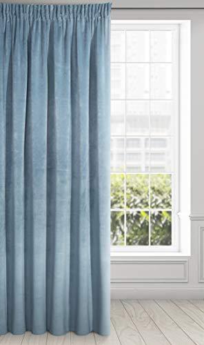 Eurofirany Ria Cortina Suave de Terciopelo con Cinta fruncidora, 1 Unidad. Elegante, Glamour Dormitorio, salón, Azul, 140 x 270 cm