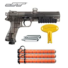 0.68 caliber paintball pistol 2 12gram CO2 Cartridges 30 Paintballs Barrel Plug Smooth firing pump handle