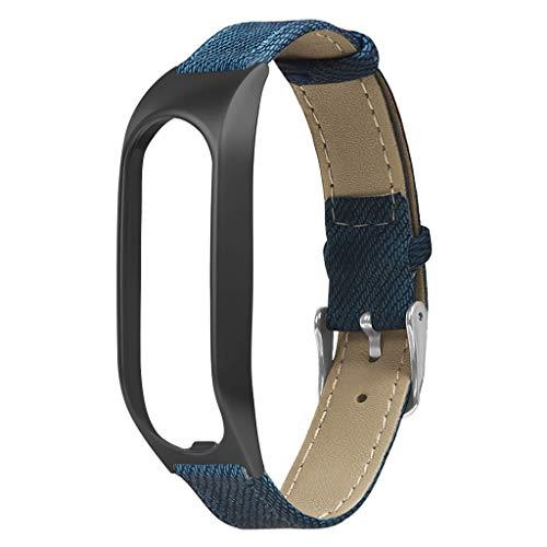 MYBOON Vintage Leather Denim Canvas Pulsera Correa de Reloj Caja de Metal Correa de Pulsera Reemplazo para Accesorios de Reloj Inteligente táctil Banda de Reloj Azul