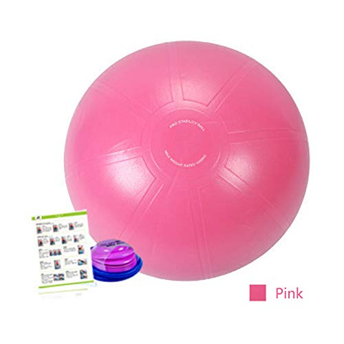 Gymnastikball,Fitnessball für Pilates Stuhl Fitness Stabilitäts Schwangerschaftsübungen,Yoga Ball mit Pumpe Anti-Burst Fitness Balance Ball für Core Strength Rückenübungen (45,55,65,75,85cm),55cmpink