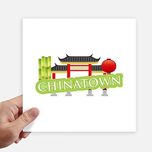 DIYthinker Bamboe Lantaarn Groen China Stad Vierkante Stickers 20Cm Wandkoffer Laptop Motobike Decal 4 Stks