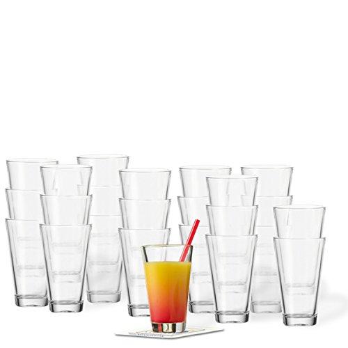 Glaskoch Leonardo Becher Ciao Saftbecher Set 24-teilig inklusive 24 Dekokaufhaus Untersetzer, Longdrinkbecher Wasserglas