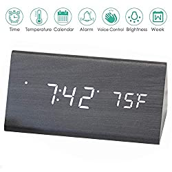 AZbornaz Wood Alarm Clock Block, Wooden LED Digital Electronic Bedside Shelf Desk Display – Wireless Battery Power, USB Charger, Dimmable, Calendar Date, Temperature, Voice Control – Modern Black