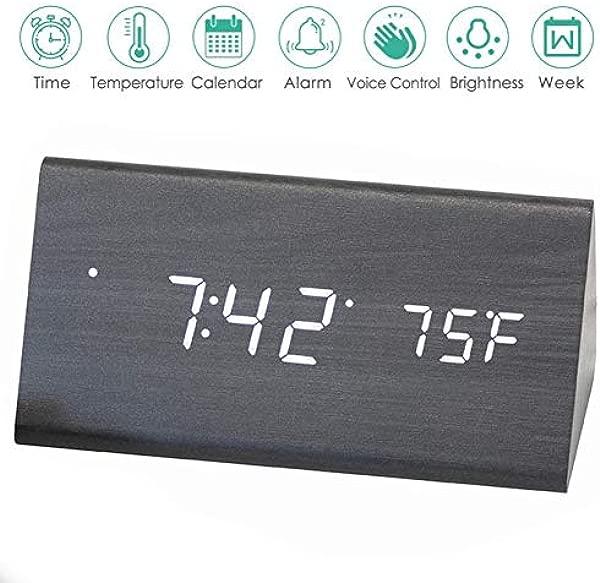 AZbornaz Wood Alarm Clock Block Wooden LED Digital Electronic Bedside Shelf Desk Display Wireless Battery Power USB Charger Dimmable Calendar Date Temperature Voice Control Modern Black