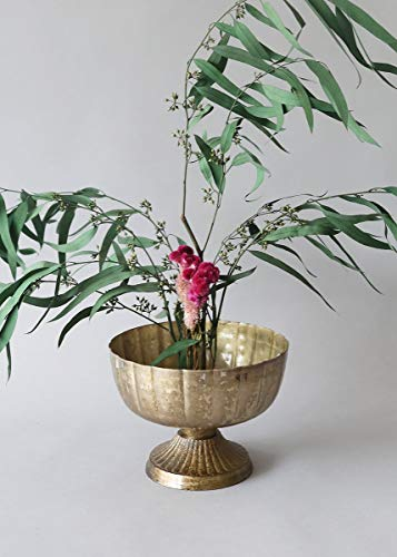 """Afloral Distressed Gold Metal Compote Bowl - 5.5"""" Tall"""