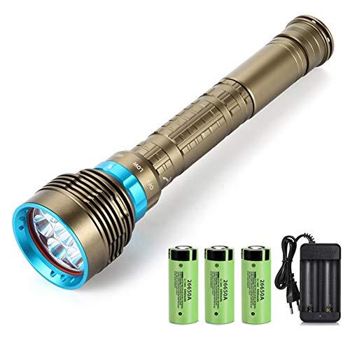 Linterna Impermeable con + Cargador 3X26650 Batería, 7 Buceo Linterna LED XM-L2 7000Lm Linterna Bajo El Agua 100M,L2 High Brightness,A