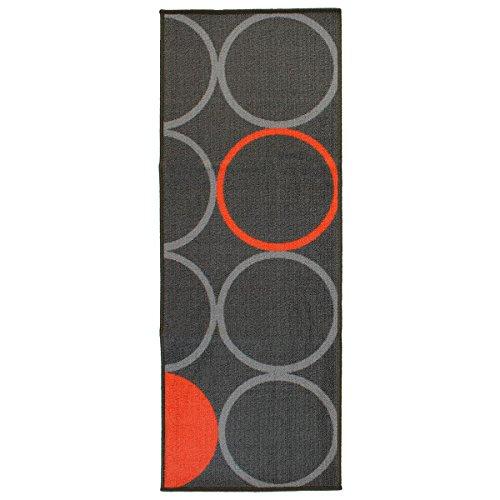 Tappeto da Cucina Passatoia Cerchi Opty Collection 57x140 cm M778 Grigio-Arancio