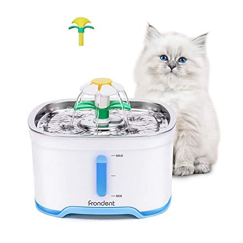 Fuente de Agua para Gatos, 2.5L Automático Fuente de Agua para Mascotas 3 Filtros de Carbón Activado, Tapa de Acero Inoxidable Fuente silencioso para Gatos Perro &2 Pinceles