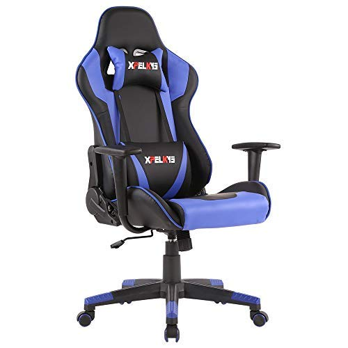 XPELKYS Office Chair Gaming Chair Computer Game Chair Video Game Chair Racing Style High Back PU Leather Chair Executive and Ergonomic Style Swivel Chair with Headrest and Lumbar Support (Blue-13) blue chair gaming