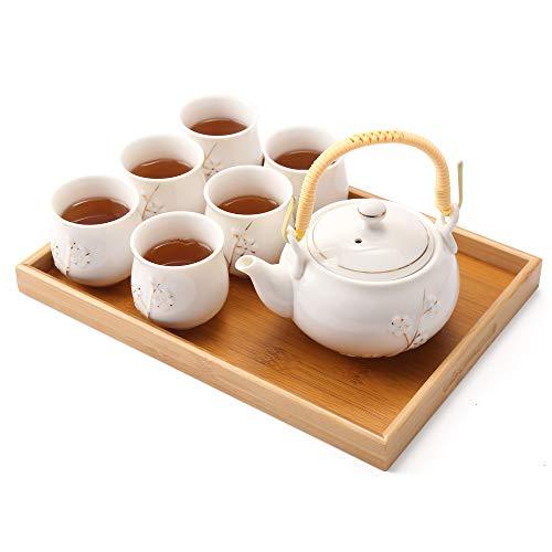 Dujust Japanse theeset, witte porseleinen theeset met 1 theepot, 6 theekopjes, 1 dienblad, 1 zetgroep, schattig…