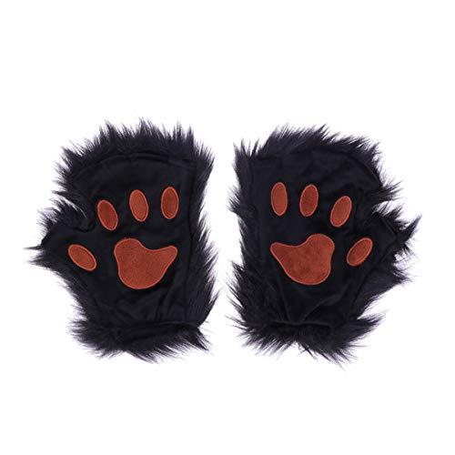 Amosfun bär handschuhe halloween kunstpelz tierhandschuhe tatzen handschuhe halbfingerhandschuhe