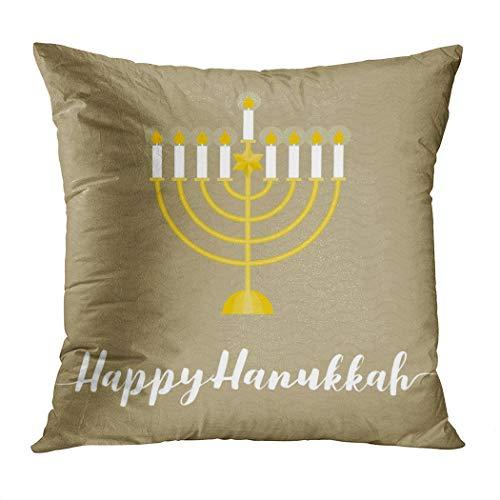 Moladika Throw Pillow Cover Square 18 x 18 Inch Hanukkah Happy Hanukah Calligraphic Wth Menorah Flat Cushion Home Decor Living Room Sofa Bedroom Office Polyester Pillowcase