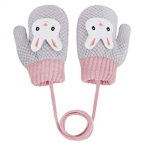 YSXY Süße Fäustlinge Baby Kleinkind Gestrickte Handschuhe für 1 2 3 4 5 6 Jahre Jungen Mädchen Winter Warme Strickhandschuhe mit schnur Fleece-Innenfutter (Grau-Kaninchen)
