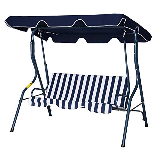 Outsunny 3 Seater Canopy Swing Chair Outdoor Garden Bench with Sun Cover Metal Frame - Blue Stripes