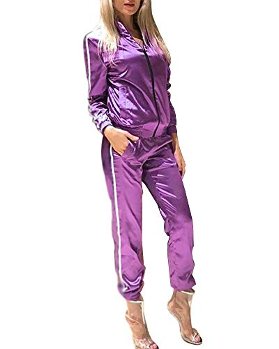 Minetom Mujer Manga Larga Cremallera Chaqueta Pantalones