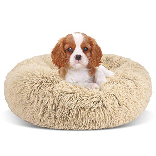 GASUR Dog Bed Cat Beds Donut, Soft Plush Round Pet Bed XS Small Medium Size Calming Bed, Self Warming Winter Indoor Snooze Sleeping Kitten Bed Puppy Kennel (1616, Taupe)