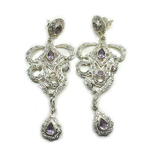 Jewelryonclick - Pendientes de amatista natural para mujer, plata de ley, diseño de mariposa, hechos a mano para aniversario