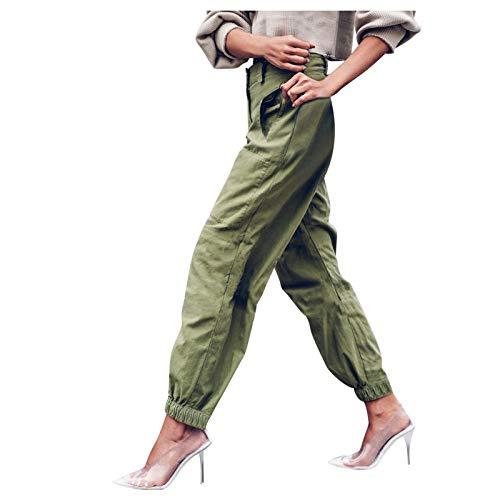 VEMOW spodnie do spędzania wolnego czasu, damskie spodnie z wysoką talią, jednokolorowe, slim fit, spodnie z kieszeniami, spodnie do noszenia w czasie wolnym, spodnie dresowe, długie spodnie sportowe