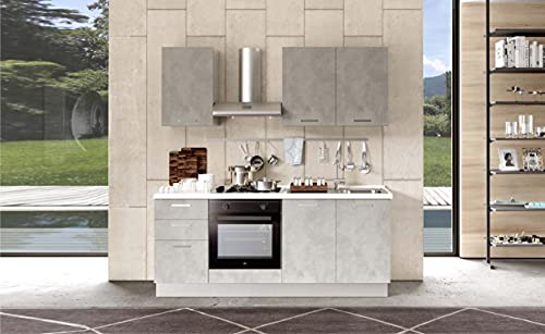 Cucina completa 195 cm mobili base comprensiva di elettrodomestici 195 x 60 x 216 cm cemento - Tanya (Lavello destro)