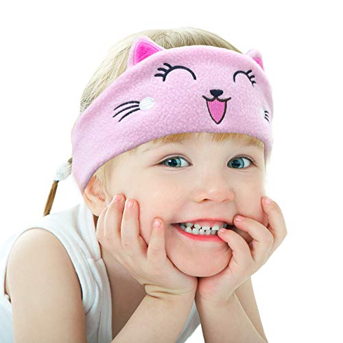 Kinderen Hoofdtelefoon, Volume Beperking met Ultra Dunne Verstelbare Speakers Zachte Kinderen Fleece Hoofdband Peuter Hoofdtelefoon voor Thuis en Reizen roze