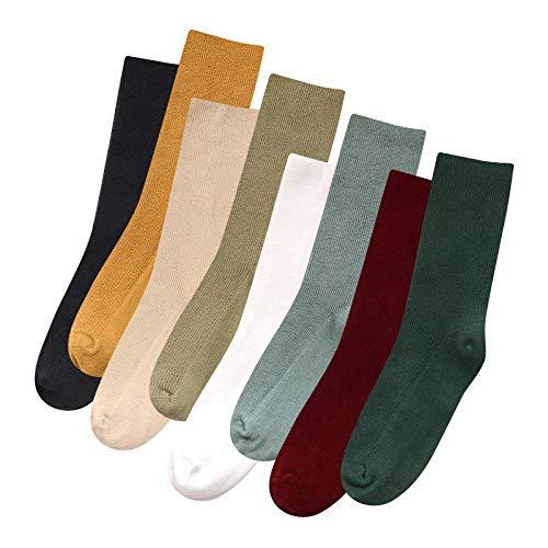 FANG Classic ademende katoenen sokken, herfst- en wintersokken, katoenen sokken, gemiddelde lengte, damessokken (5, 10 paar), ademende anti-zweetsokken