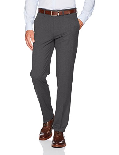 Haggar Men's J.M. Stretch Superflex Waist Slim Fit Flat Front Dress Pant, Charcoal Heather, 30Wx32L
