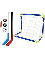 Barn fotboll hockey målsats justerbar hockeypinne och boll 2 i 1 utomhussport barn fotboll ishockey målsats med bollar pump barn utbildning leksaker för barn inomhus utomhus sport