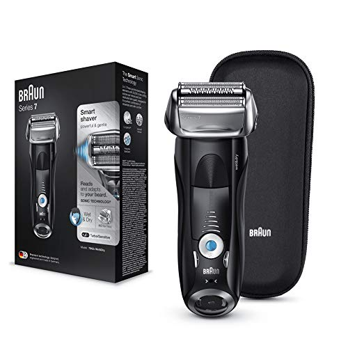 Braun Series 7 Electric Shaver for Men 7842s Wet and Dry Integrated Precision Trimmer Rechargeable and Cordless Razor with Travel Case Black, 2 pin plug