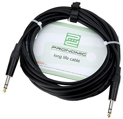 Pronomic Stage INSTS-6 Stereo-Klinkenkabel (symmetrisch abgeschirmt, zweiadrig, 6,3mm Stereo-Klinke ⇒ 6,3mm Stereo-Klinke, 6 m lang) Schwarz