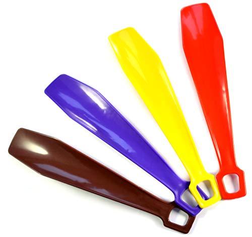 901320 Schuhlöffel, 250 mm, 4 Stück, 24,9 cm, Kunststoff-Schuhlöffel – Schuhheber für Schuhe jeder Größe – helle farbige Schuhlöffel