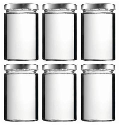 mikken 6 x Einmachglas 0,58 Liter Vorratsglas mit Schraubverschluss PVC frei inkl. Beschriftungsetiketten