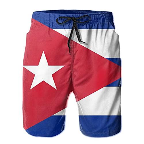 Olverz Pantalones cortos de playa para hombre con diseño de bandera de Cuba de secado rápido con cordón y bolsillos