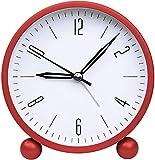 GLLP - Despertadores para mesilla de noche, no se hacen tictac, con luz nocturna, función sencilla, para dormitorio, oficina, color rojo