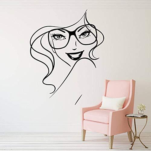 Gafas de moda Sonrisa Chica Labios Ceja Maquillaje Mujer Salón de belleza Vinilo Etiqueta de la pared Calcomanía del coche Dormitorio Sala de estar Club Estudio Decoración para el hogar Mural