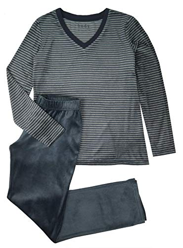 Damen Nicki Schlafanzug Hausanzug Pyjama samtweich Winter (S 36/38)