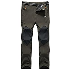 Fabric: 93.5%Polyester+6.5%Spandex Water Resistant Windproof Weather Resistant Waterproof and breathable membrane provides windproof and moisture This pant can adapt to little rain, but it can't use in the rainstorm, it can not replace the raincoat, ...