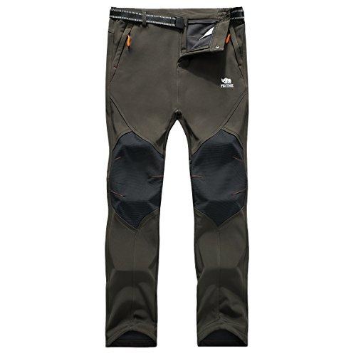 PECTNK Los Pantalones al Aire Libre de los Hombres Que Son de Fleece Impermeable de c¨¢scara Blanda 815A Ejercito Verde L