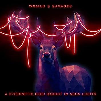 A Cybernetic Deer Caught in Neon Lights