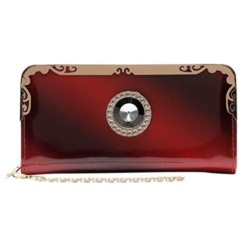 ❤️ Sunbona Coin Purses for Women Fashion Long Patent Leather Gradient Color Bag Rainbow Purse Clutch Purse Card Holder Wallet