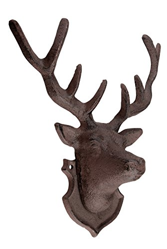 Esschert Design Wanddekoration Hirschkopf mit Geweih aus rötlichem Gusseisen, ca. 27cm hoch, 22,5 cm breit und 10 cm tief